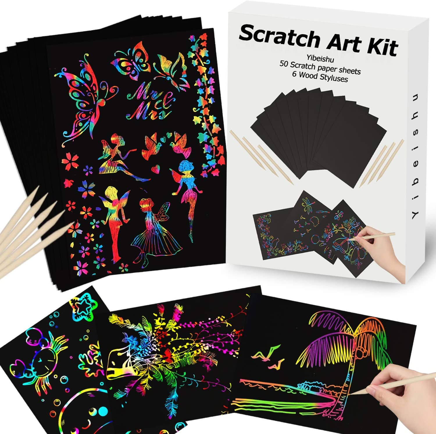 Scratch Paper Art for Kids Black 59 Pcs Magic Rainbow Scratch Paper Off Set Black Scratch Crafts Arts Kits Pads Sheets Boards for Christmas Party Supplies Birthday New Year Gifts