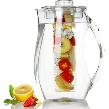 Fruit Infuser Water Pitcher by Harcas. 2.9 Quart (2.75 Liters). Best for Infused Lemon, Juice, Herbs or Tea Beverages. Shatterproof Acrylic with Ice Core