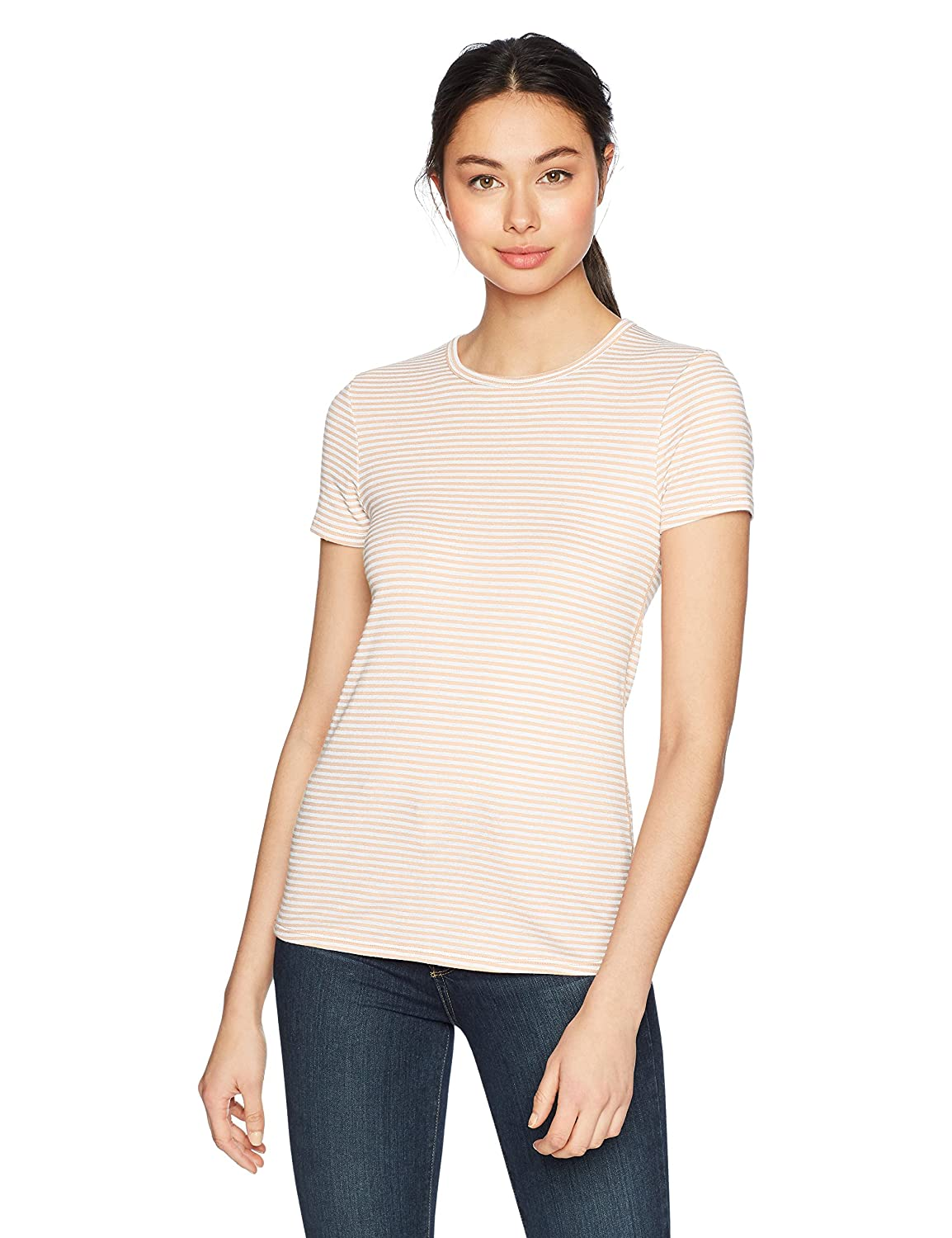Three Dots Womens Montauk Stripe Short Tight Crewneck