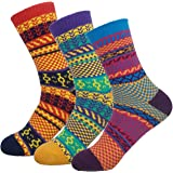 3 Pack Vintage Thick Cotton Crew Socks Colorful Warm Casual Winter Mid-calf Sock
