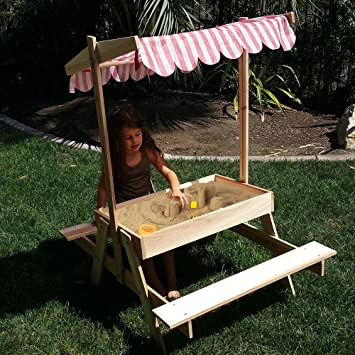 Modern Home Wooden Picnic Table With Sandbox And Adjustable Canopy