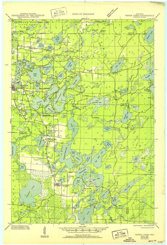 Amazon Com Yellowmaps Three Lakes Wi Topo Map 1 48000 Scale 15 X