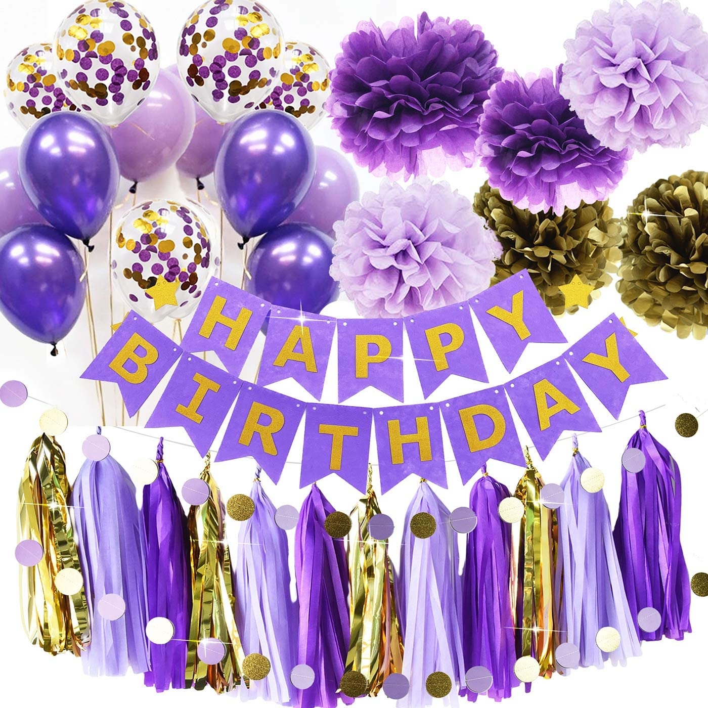 Purple Gold Birthday Party Decorations Qian's Party Purple Gold Confetti Balloons Happy Birthday Banner Purple Gold Birthday Party Supplies for Women's 20th/30th/40th/50th Birthday Party Decorations