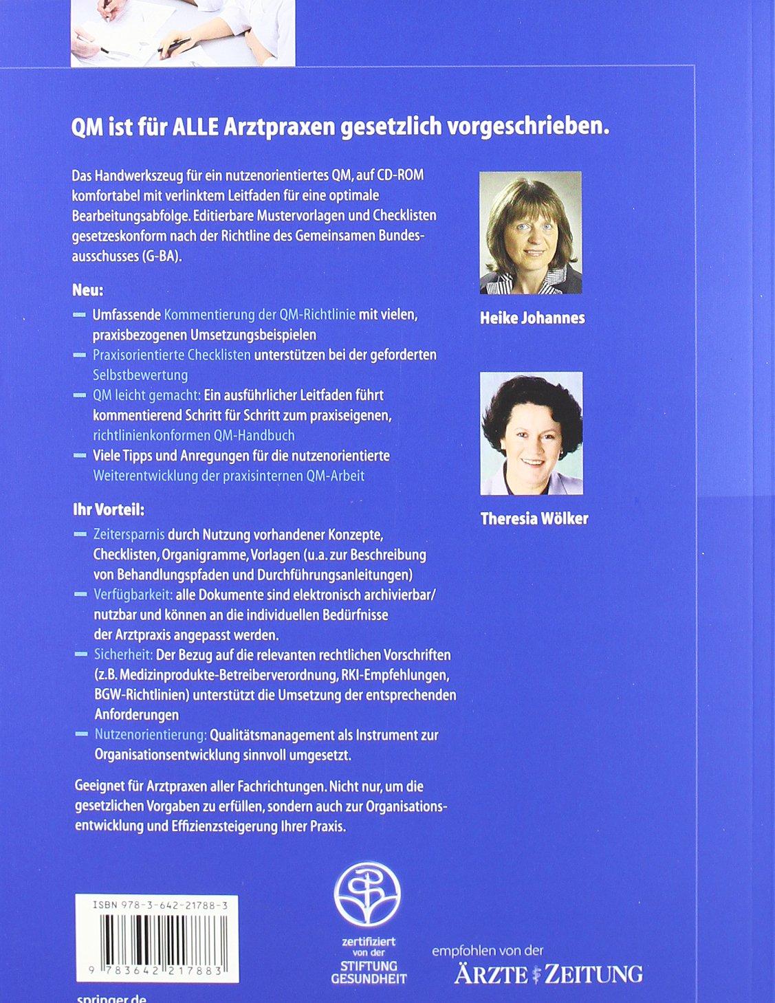 Arbeitshandbuch Qualitätsmanagement: Mustervorlagen und Checklisten ...