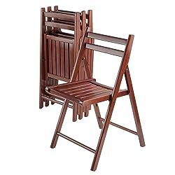 Winsome Wood Robin 4 Piece Folding Chair Set Walnut