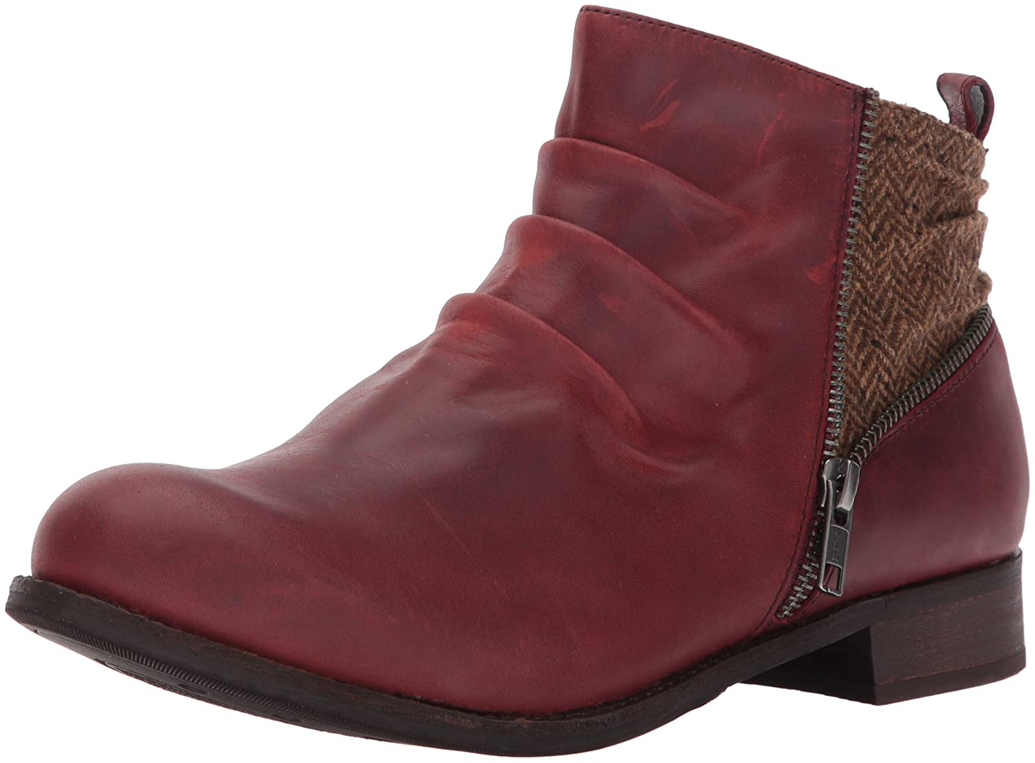 Caterpillar Women's Kiley Pleated Leather Bootie with Tweed Accents Ankle Boot B01MS4K93K 5 B(M) US|Sedona Tweed