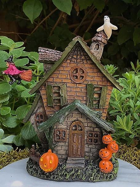 Moonrish Miniature Dollhouse Fairy Garden Halloween LED Lighted Haunted House MW262 6 x 3.5 x 4.5