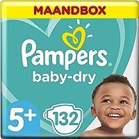 Pampers Baby-Dry Maat 5+ (12-17kg), 132 Luiers, Tot 12 Uur Bescherming Rondom Tegen Lekken, Maandbox