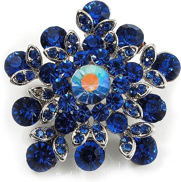Swarovski Crystal Star Brooch (Navy Blue)