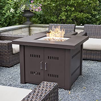 Belleze Outdoor Patio Heaters 40,000BTU LPG Propane Fire Pit Table,  Hammered Bronze, CSA