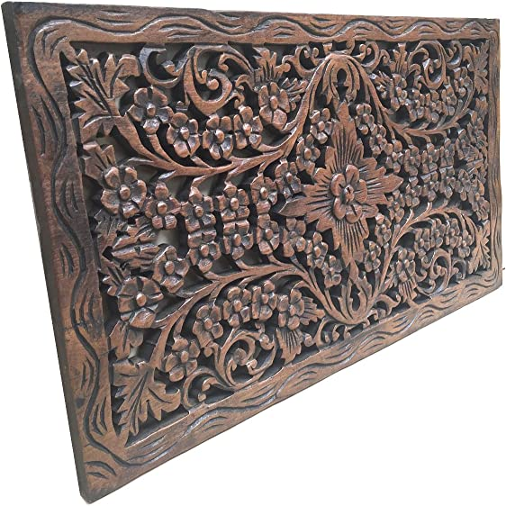 Asiana Home Decor Wood Carved Panel. Decorative Thai Wall Relief Panel Sculpture.Teak Wood Wall Hanging