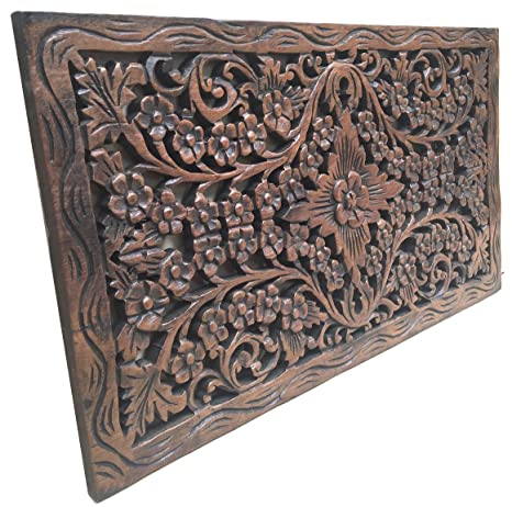 Asiana Home Decor Wood Carved Panel Decorative Thai Wall Relief Panel Sculpture Teak Wood Wall Hanging In Dark Brown Finish Size 24 X13 5 X0 5