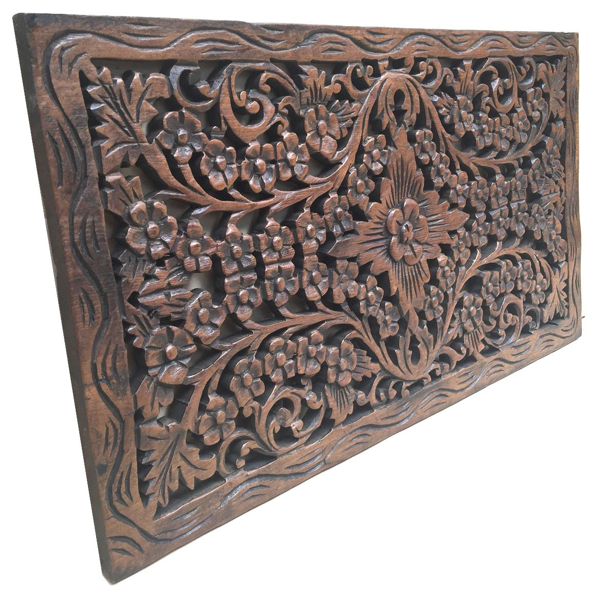 Asiana Home Decor Wood Carved Panel. Decorative Thai Wall Relief Panel Sculpture.Teak Wood Wall Hanging in Dark Brown Finish Size 24''x13.5''x0.5'' by Asiana Home Decor
