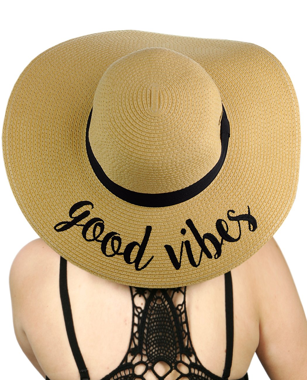 379a5991 C.C Women's Paper Weaved Crushable Beach Embroidered Quote Floppy Brim Sun  Hat product image