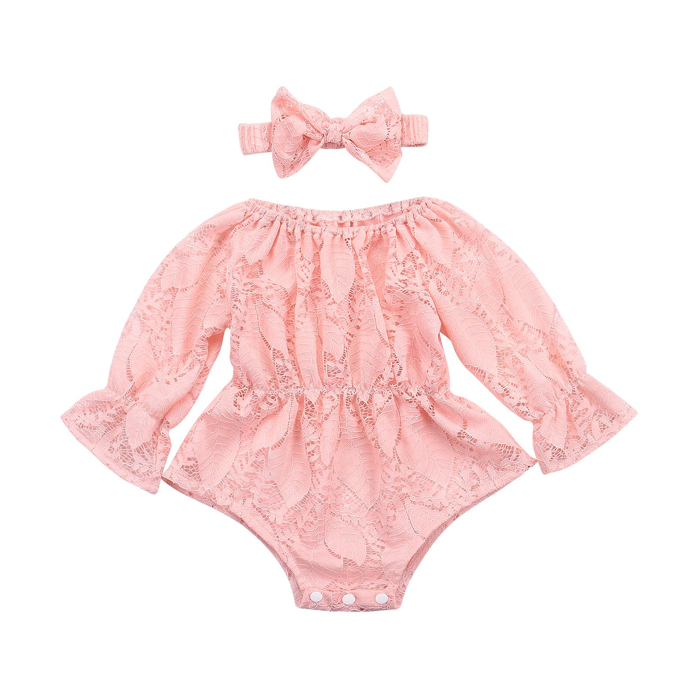 Infant Newborn Baby Girls Hollow Sleeveless Romper Lace Flower Ruffle Jumpsuit
