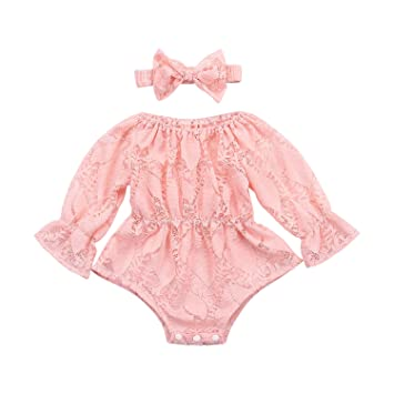 7a87c86bac82 Image Unavailable. Image not available for. Color  Monbebe Newborn Infant  Baby Girl Flower White Lace Off Shoulder Romper ...