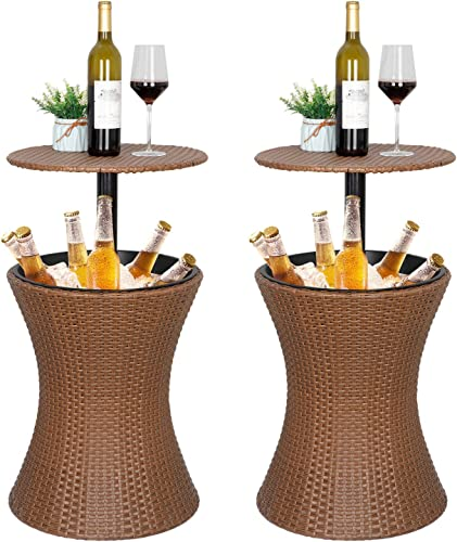 HomGarden Height Adjustable Cool Bar Rattan Style Wicker Ice Bucket Cocktail Coffee Cooler Table All in One – All-Weather Wicker Bar Table for Party, Pool, Patio, Deck, Backyard Pack of 2
