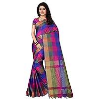 Om Sai Latest Creation Women's Soft Cotton -Silk Saree With Blouse Piece Material(Blue)