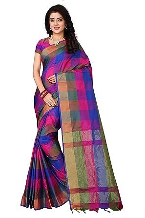 3c48c615dd Dhruvi Trendz Women's Art Silk Solid Saree With Blouse Piece Material (Blue  & Multi,
