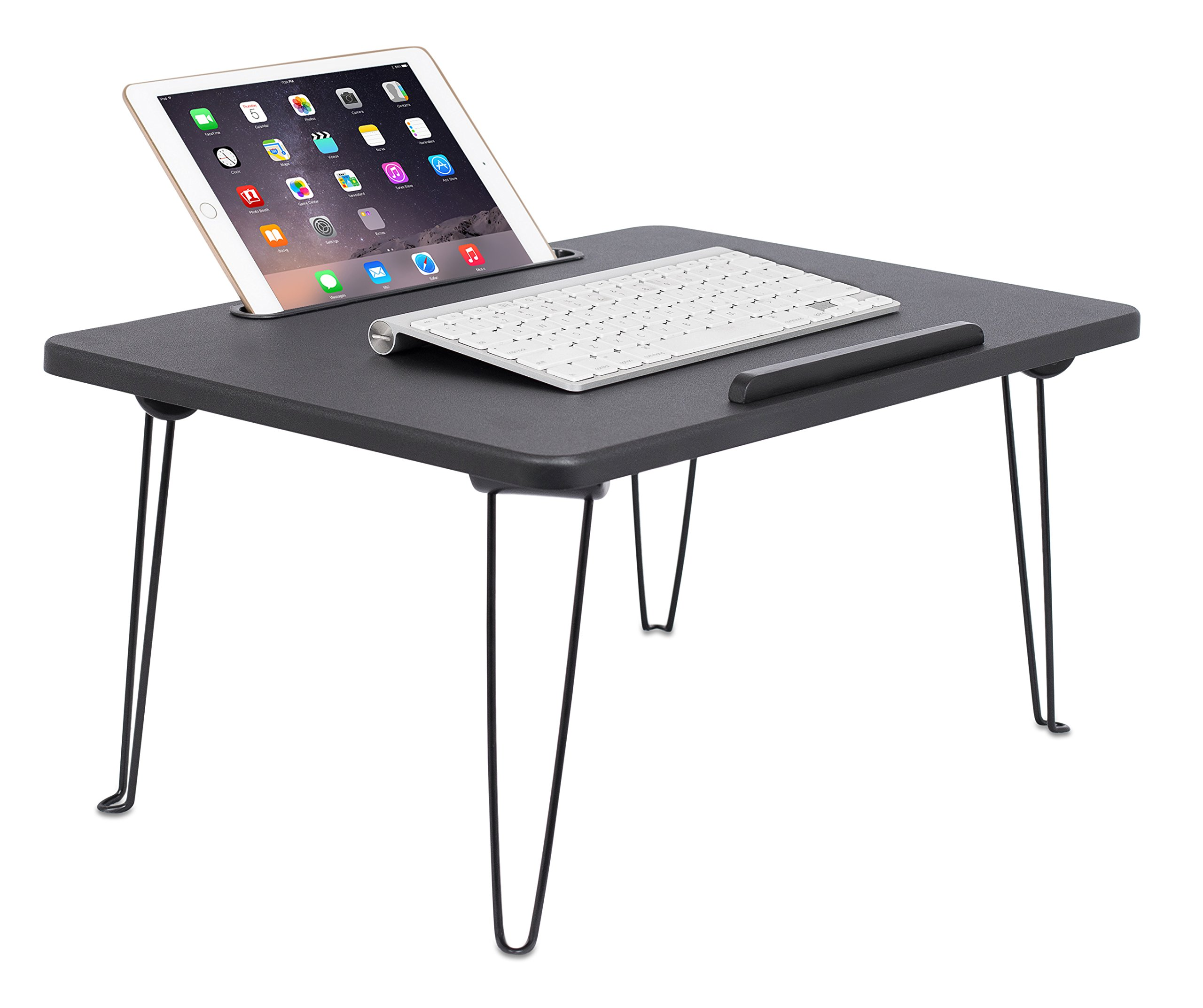 Sofia + Sam Lap Tray with Tablet Slot | Metal Folding Legs | Lap Desk Laptop Stand | Breakfast Serving Bed Tray | Black