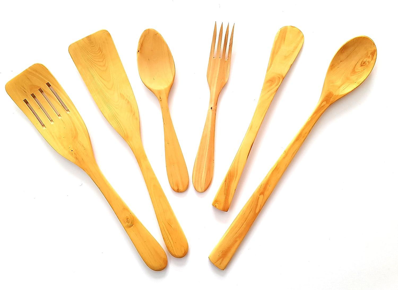 Juego de utensilios cocina artesanales fabricados con madera de boj,6 piezas