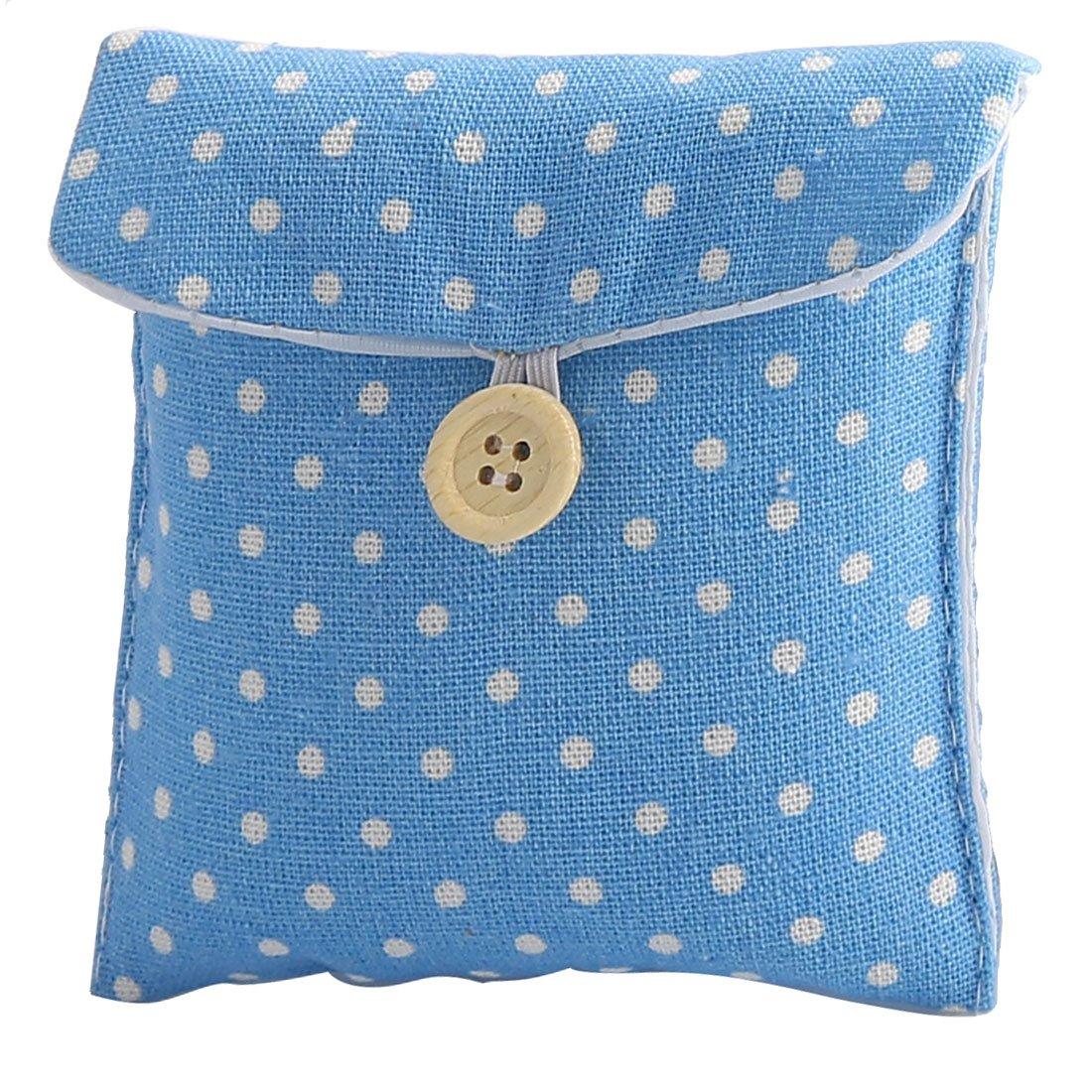 sourcingmap® Damen Punkt Muster Rechteck Form Knopf Schließung Sanitär Pad Halter Tasche Blau a16081900ux0395