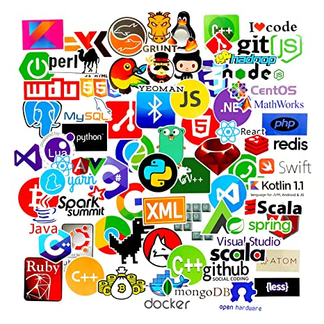 Sanmatic 72Pcs Laptop Aufkleber für Entwickler Programmiersprache gehören Aufkleber IT-Logo, C ++, Python, Linux, Swift, für