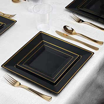Kaya Collection - Square Black and Gold Disposable Plastic Dinnerware Party Package - 20 Person Package & Amazon.com: Kaya Collection - Square Black and Gold Disposable ...