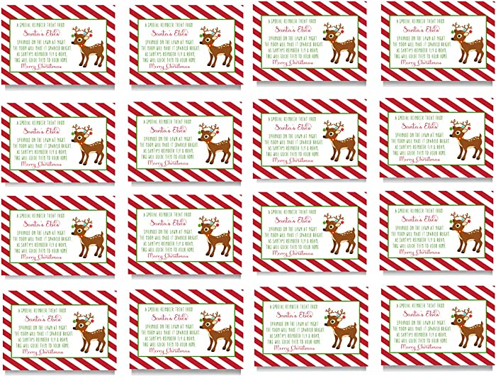 Reindeer Food Gift Tags - Christmas Party Supplies - Kids Favors - Gifting - (16 Pack) Folded Cards - Rudolph Bag Labels