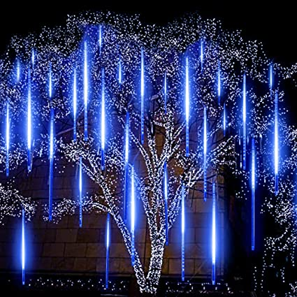 blue meteor lights eagwell upgrade 20 inches 10 tube 540 led meteor shower rain lights