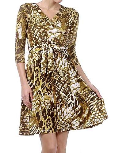 Avital Reptile Print Belted Surplice Day Dress