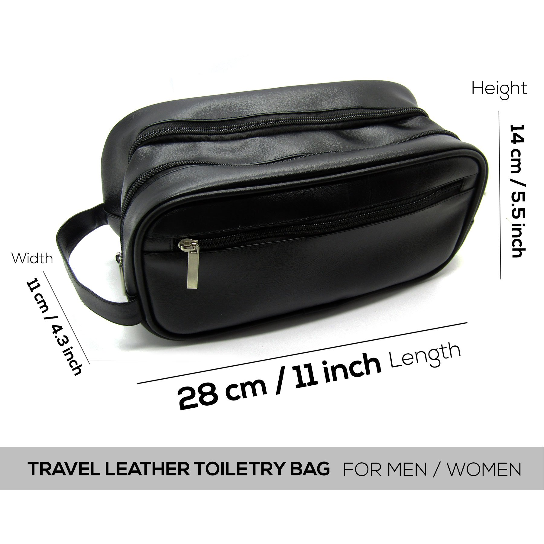 Mister Bag Leather Travel Toiletry Bag for Men or Women Waterproof. Travel Size Toiletries Bag Toilet Organizer Supply Two Compartments Perfect For Men's Travel Toiletry Bag Shaving Grooming Dopp Kit by Mister Bag (Image #6)
