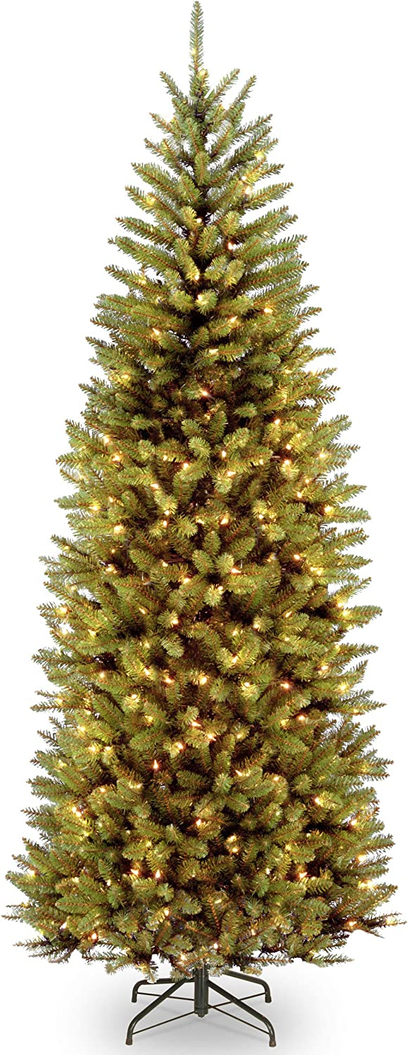 National Tree 7.5 Foot Kingswood Slim Fir Tree with 450 Dual Color LED Lights and PowerConnect 9 Function System, Hinged (KW7-D52-75), ft