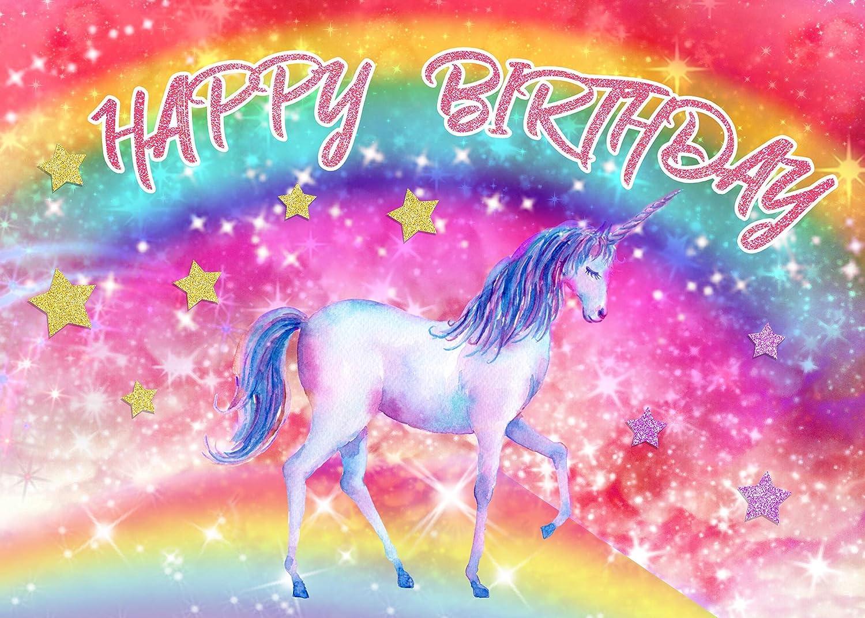 5x7ft Vinyl Rainbow Unicorn Background Happy Birthday Beautiful Unicorn Gold Star Rainbow for Childrens Birthday Party Girl Interior Decoration Wallpaper LYLS987 for Party Decoration Birthday YouTube