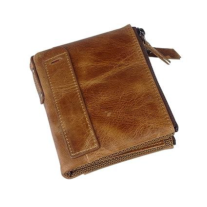d957984af30a Men RFID Blocking Wallet Small Vintage Crazy Horse Leather Short Purse  Bifold
