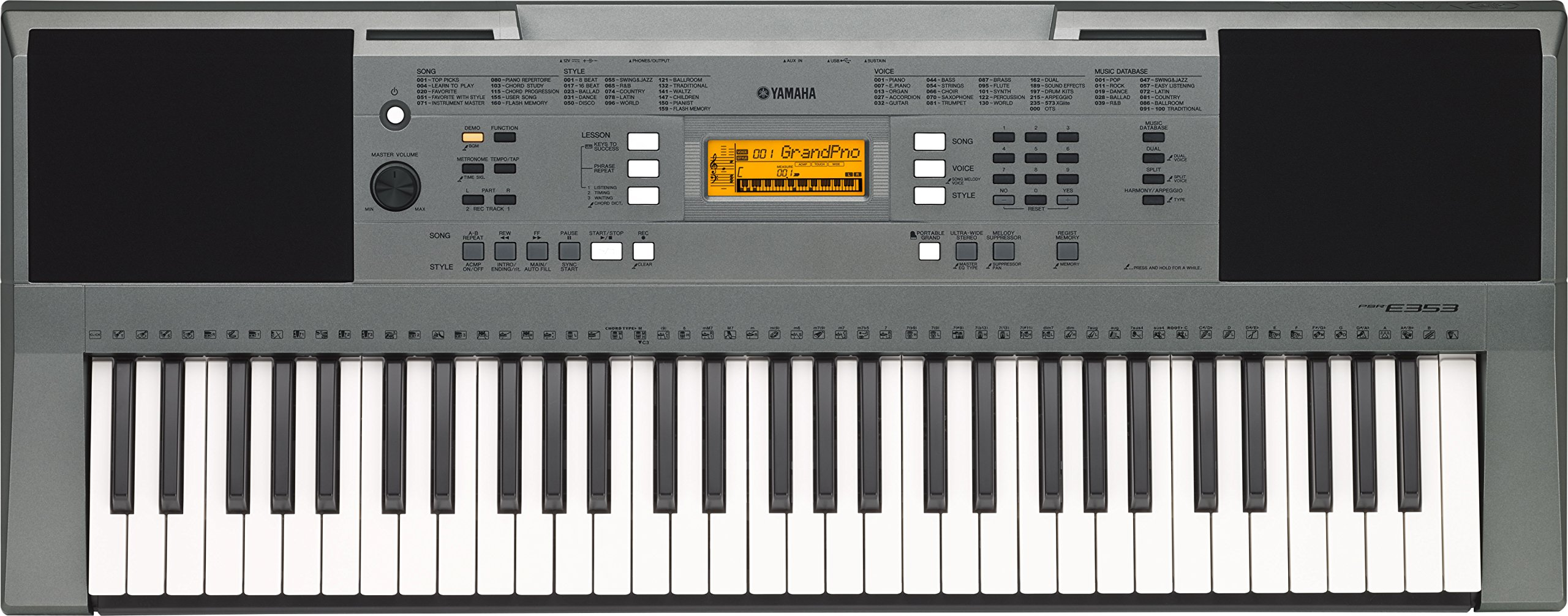 Yamaha PSR-E353 - Teclado portátil (61 teclas, 158 estilos), color