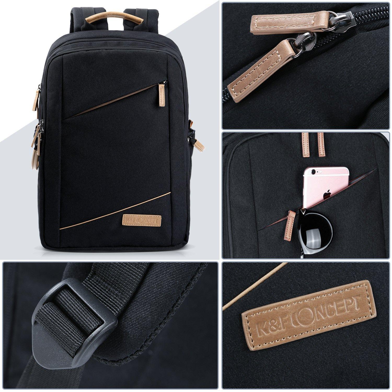 Camera Backpack, K&F Concept Fashion DSLR Camera Bag Waterproof Travel Bag for Canon, Nikon, Olympus, Sony Digital SLR Cameras, Lenses and Accessories (Black)