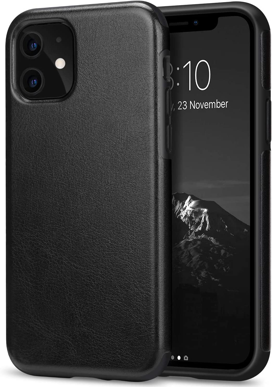 TENDLIN Funda iPhone 11 Cuero y TPU Híbrido Carcasa Compatible con iPhone 11 (Negro)