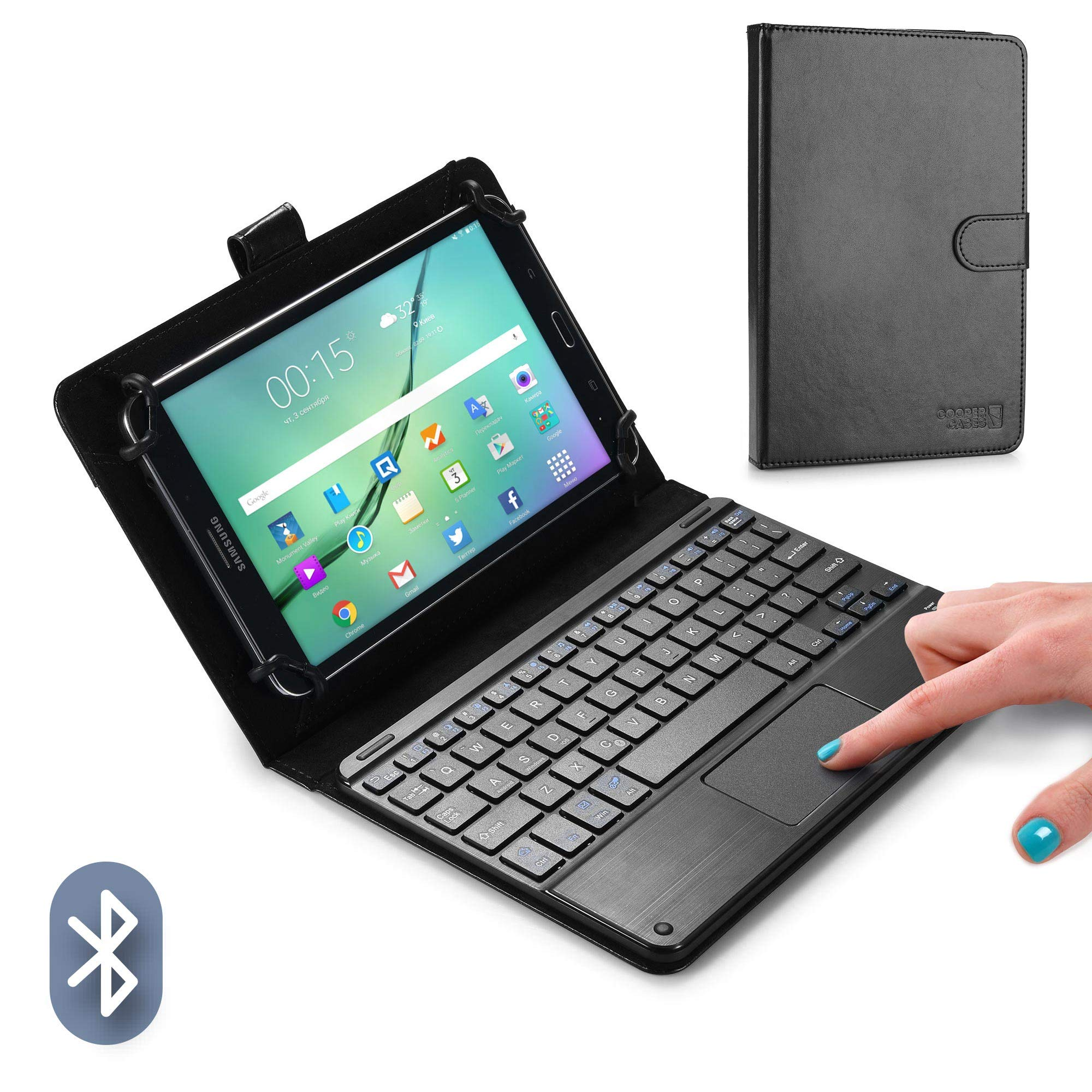 COOPER TOUCHPAD EXECUTIVE Keyboard case for 8'' - 8.9'' inch tablets   2-in-1 Bluetooth Wireless Keyboard with Touchpad & Leather Folio Cover   Touchpad Mouse, Stand, 100HR Battery, 14 Hotkeys (Black)