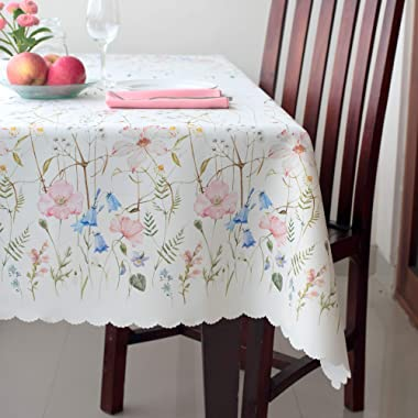 Floral Coloring Rectangle Easter Tablecloth Non-iron Stain Resistant- Table Cover Perfect for Kitchen Dining Room Restaurants Thanksgiving Christmas Dinner New Year (ECRU flowers, Rectangle 60 x120 )