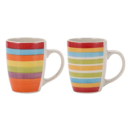 a1a12a0249a Image Unavailable. Image not available for. Colour: Renberg Set of 6 Striped  Coffee Mugs.