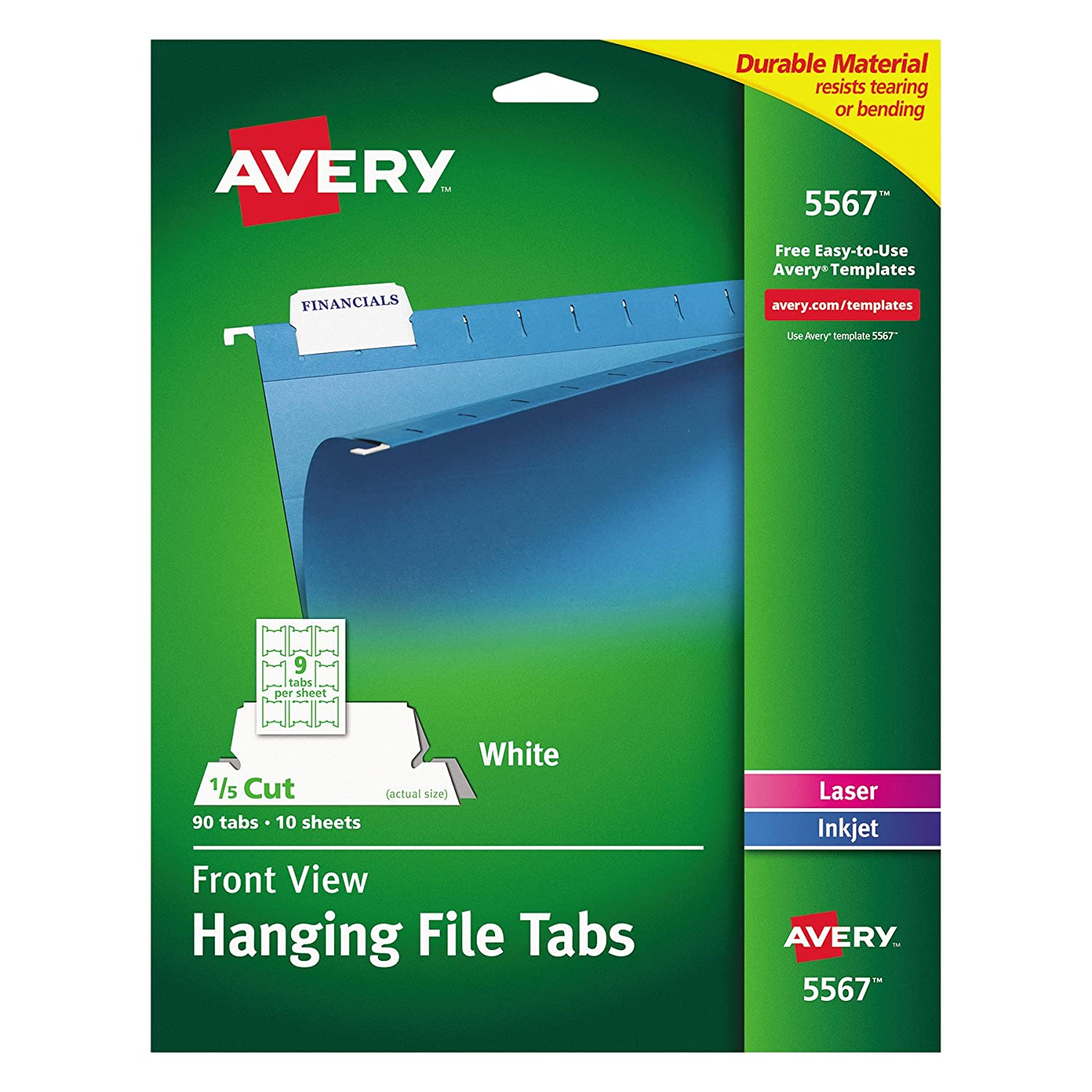 picture about Printable Hanging File Folder Tab Inserts named Avery 5567 Print/Compose-Upon Putting Tabs, 1/5 Tab, 2 1/16, White (Pack of 90)