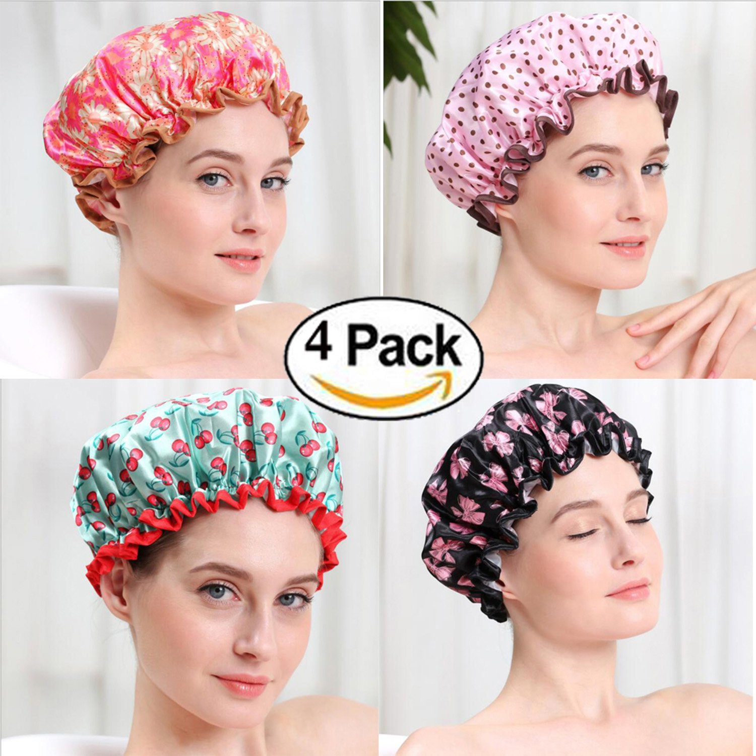 4 Pack Fashion Design Stylish Reusable Waterproof Shower cap with Beautiful pattern (4 pack) M-jump