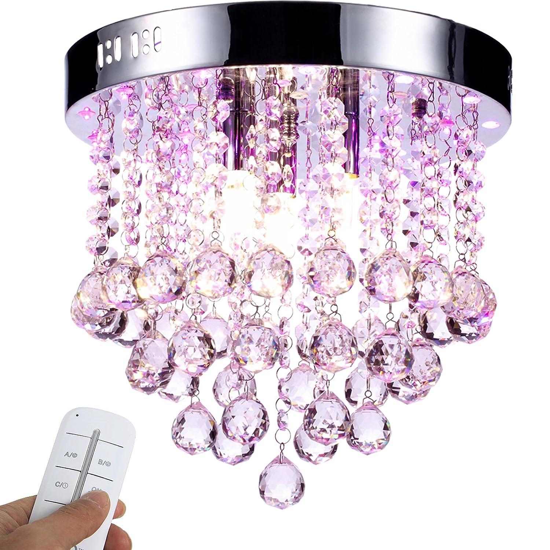 Yorbay LED Kristall Deckenleuchte Kronleuchter mit RBP Licht, G9 LED Lampe, mit Fernbedienung für Wohnzimmer, Esszimmer AZ-L33