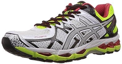 on sale 3da2d 1e0d7 ASICS Men s Gel-Kayano 21 White, Lightning and Flash Yellow Mesh Running  Shoes -