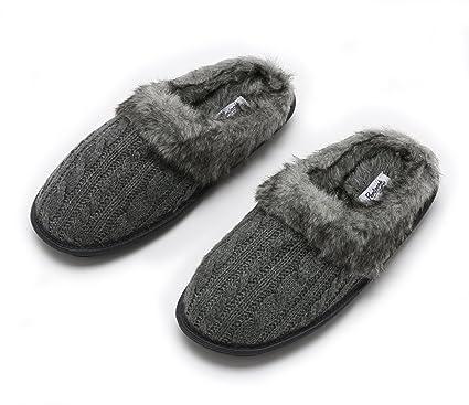 Amazon Pembrook Ladies Faux Fur Cable Knit Slippers