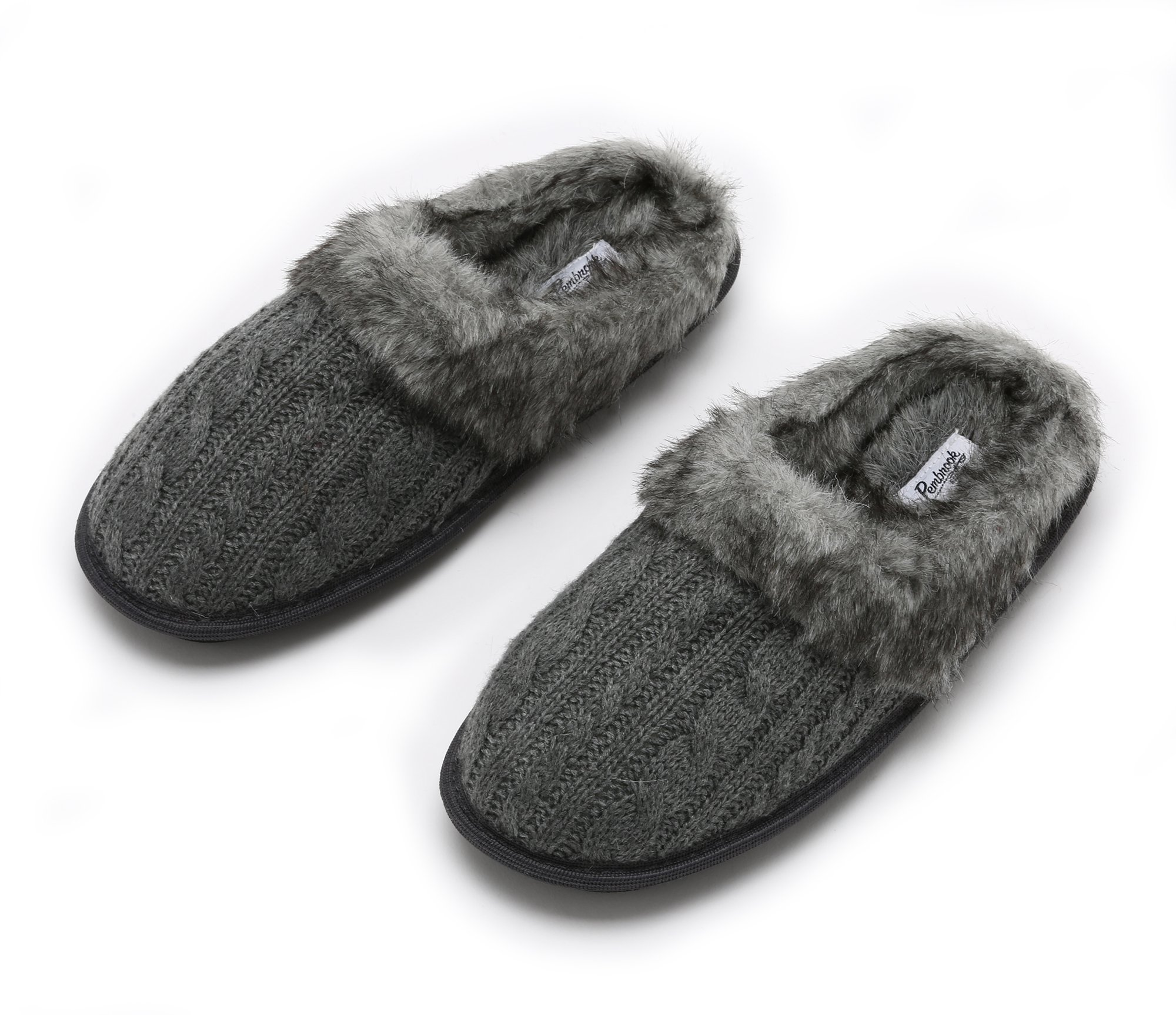 Pembrook Ladies Faux Fur + Cable Knit Slippers – Gray, Large - Comfortable Memory Foam Indoor and Outdoor Non-Skid Sole - Great Plush Slip on House Shoes for adults, women, girls by Pembrook (Image #1)