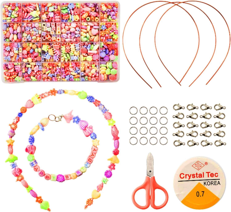 Moji Toys Juego de joyería para Hacer brazaletes para niños - Juego de Abalorios artesanales - Incluye 1000 Piedras de Colores en 24 Estilos Surtidos - Conjunto Completo con Collar de Diadema