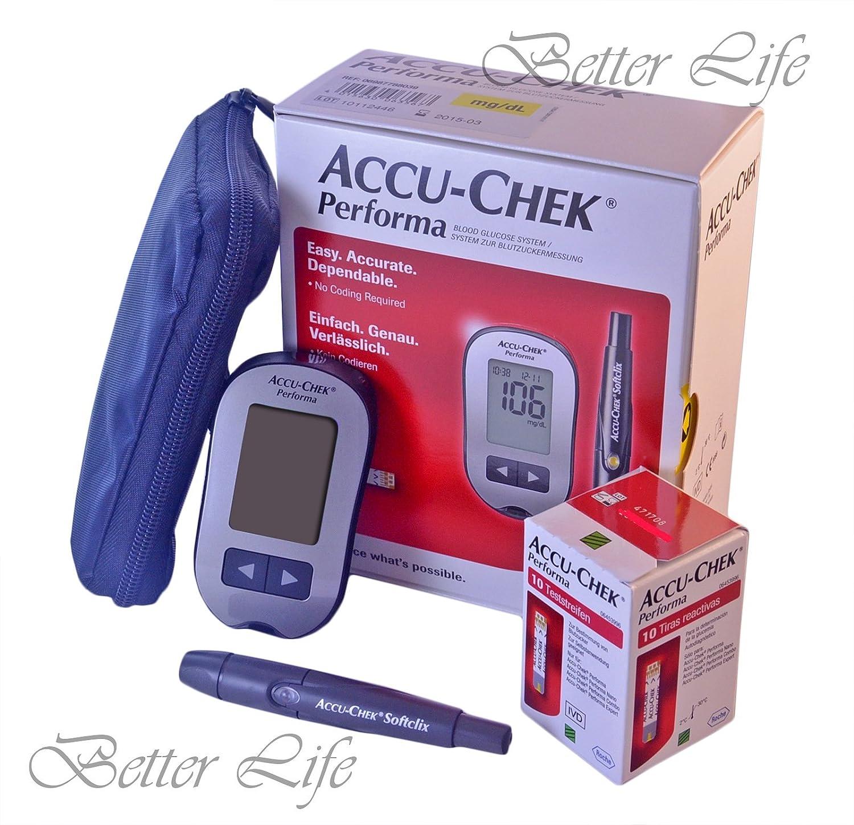 Accu Comprobar Performa Kit Diabetes Test Cómo Azúcar en Sangre Monitor Accu Chek Akku: Amazon.es: Salud y cuidado personal
