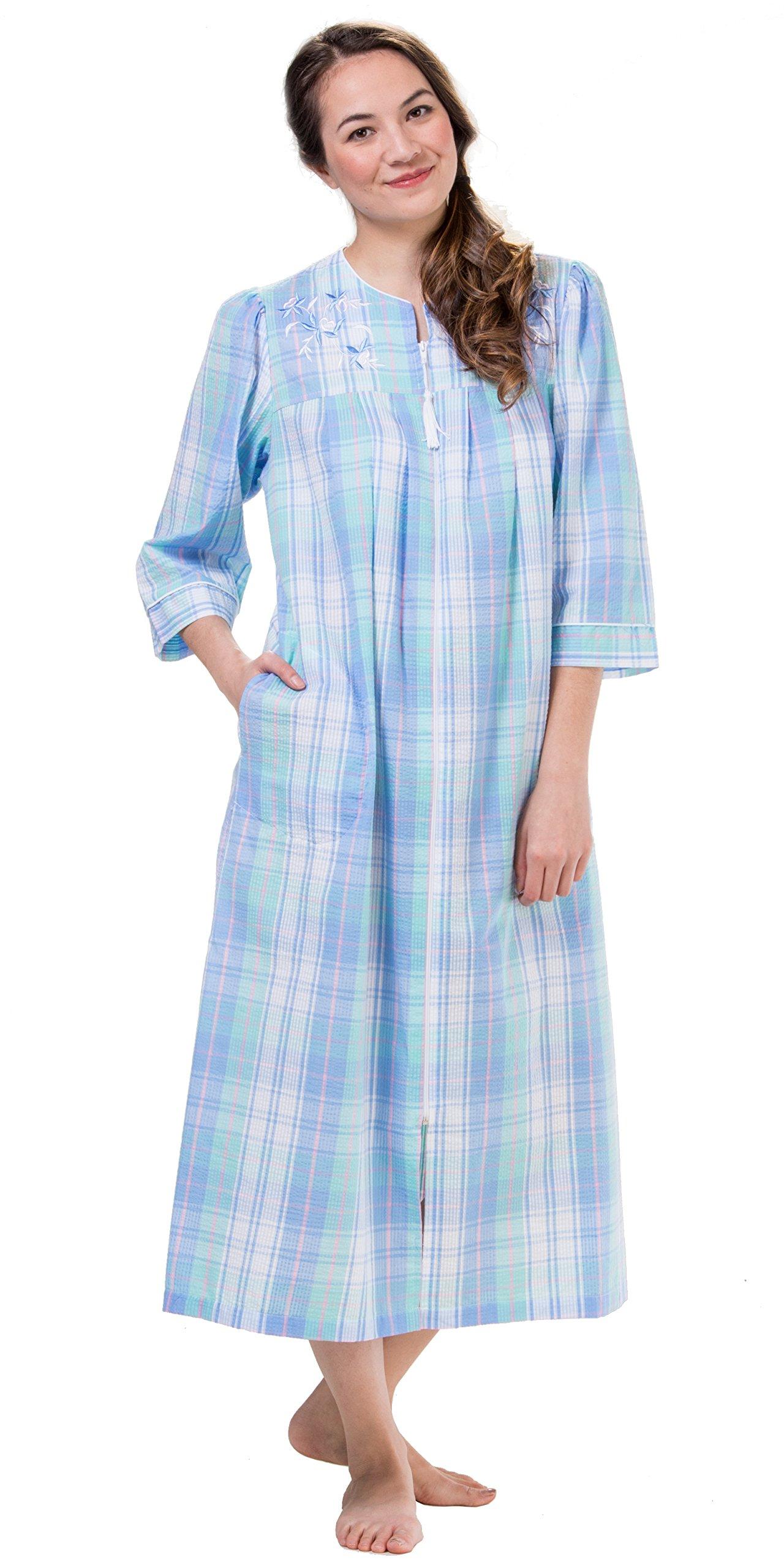 Miss Elaine Plus Long Seersucker Zip Front Robe in Blue Green Plaid (2X    22-24 0b6698b13
